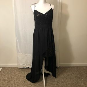 Aidan- Size 14- Black Hi/lo gown with sequins